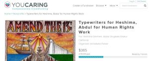 Screenshot of our crowdfunder for typewriters on YouCaring